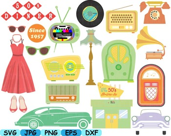 Vintage Music retro radio clip art svg cars car Rock And Roll party 60s 50s  114S.