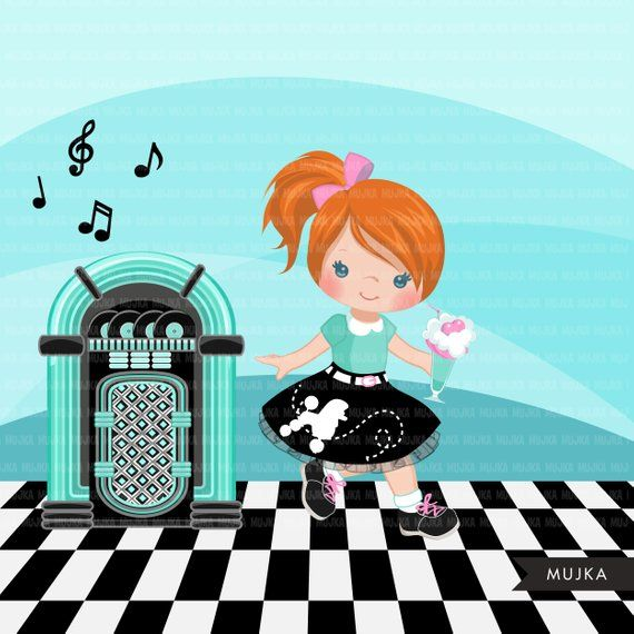 Sock Hop Party Clipart. 50\'s retro characters dancing, swing.