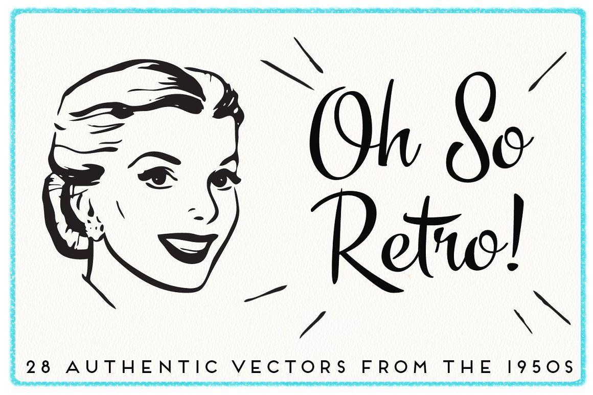 28 Authentic Retro 1950s Vectors retro vintage clip art.