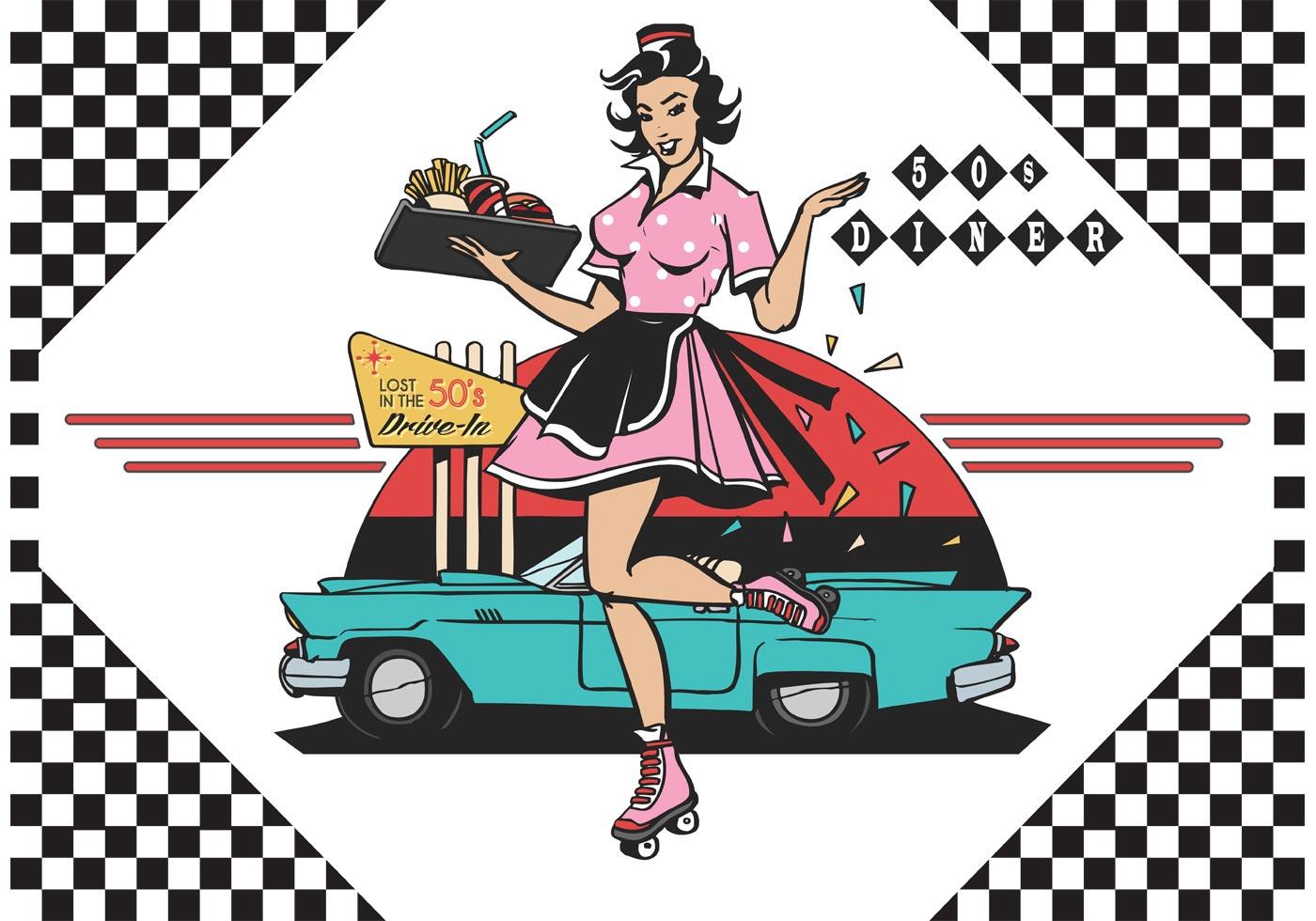 Retro Waitress Free Vector Art.