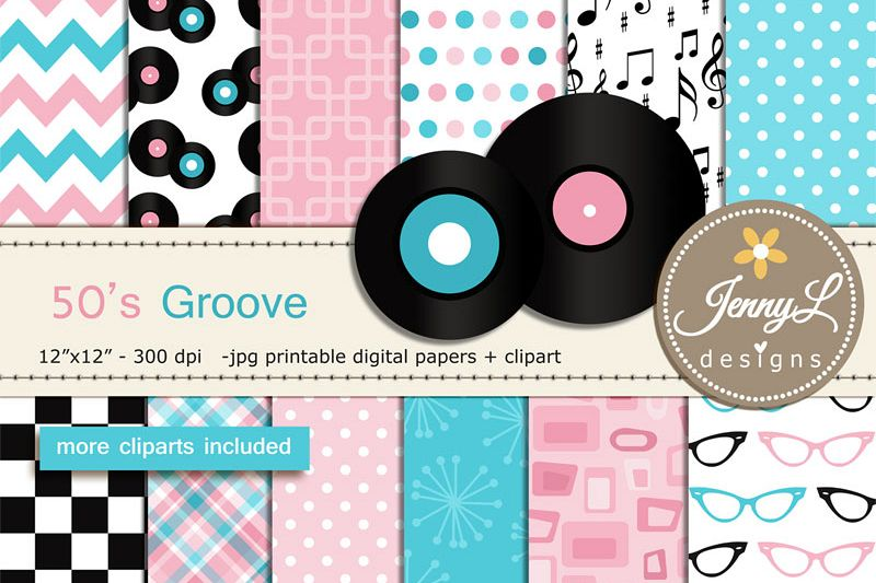 50s Retro Diner, Rock and Roll Digital Papers, LP Records, Guitar,  Milkshake, eyeglasses, Musical Notes Cliparts.