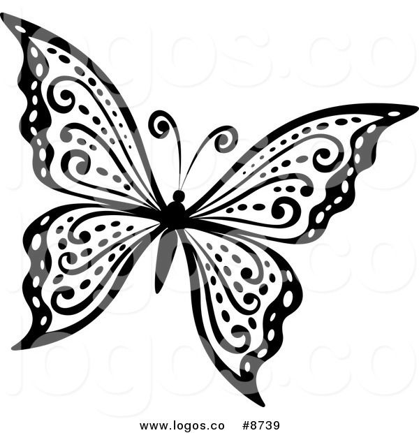 Butterfly Flying Clipart Black And White.
