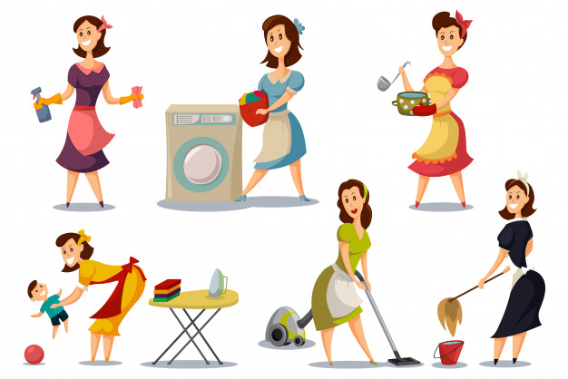 Housewives in a vintage retro style 50\'s set. Vector.
