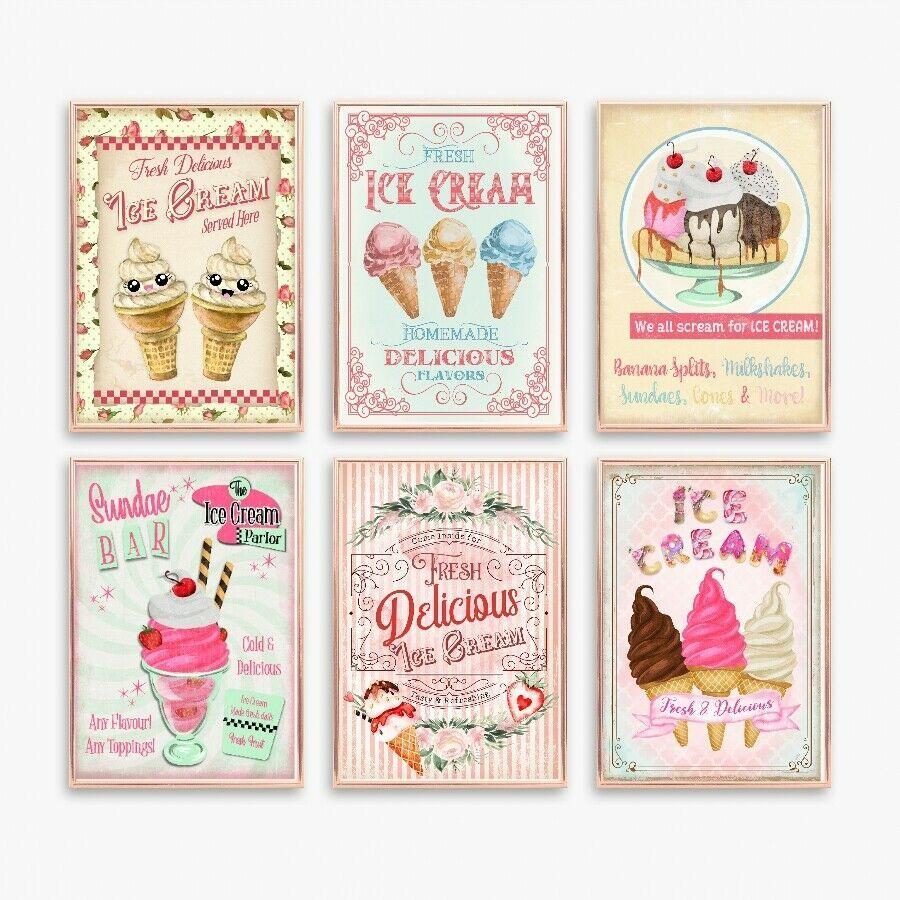 Retro Ice Cream Signs 50s Ice Cream Sundaes Diner in 2019.