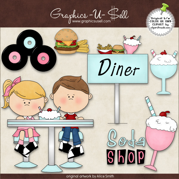 50s Diner 1 ClipArt Graphic Collection.