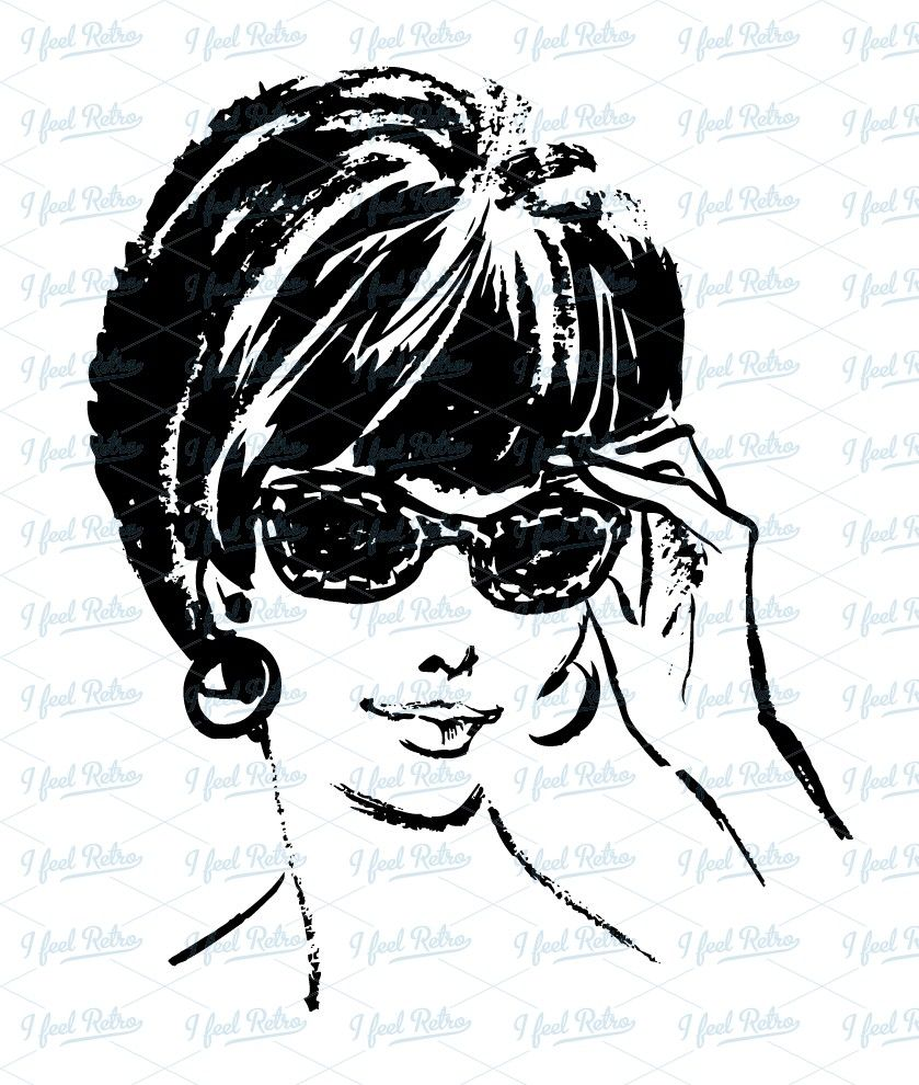 50s Woman Clipart Woman with sunglasses.