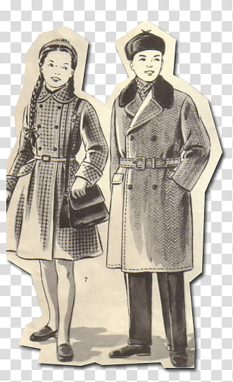 Retro style from s, man and woman wearing coat sketch.
