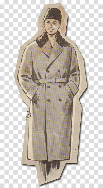 Retro style from s, man wearing trench coat transparent.