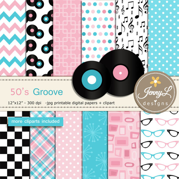 50\'s Retro Diner, Rock and Roll Digital Papers, LP Records.