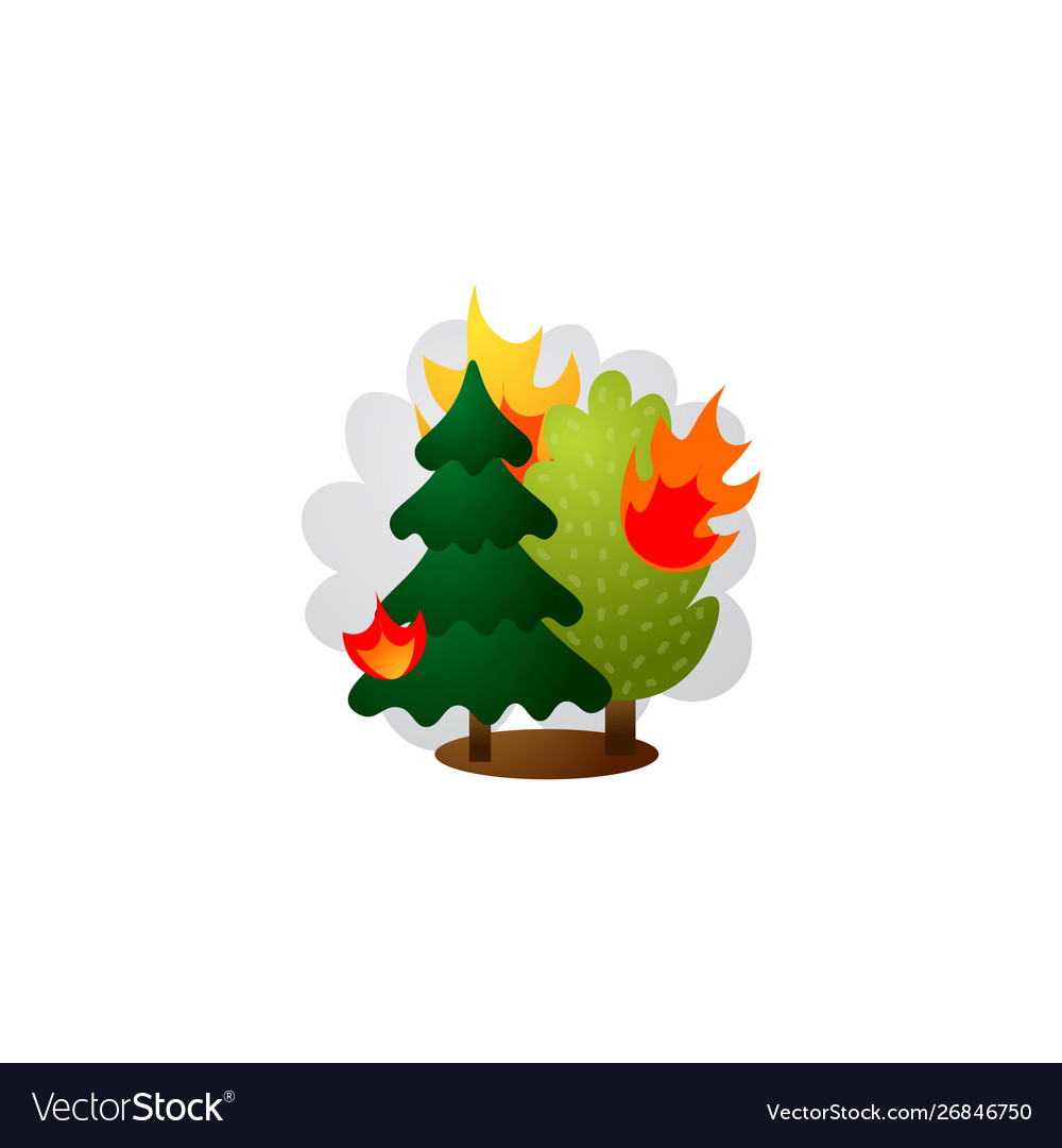Burning forest trees in flames raster.