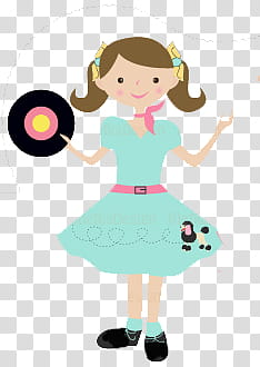 Cute for Girls s, blue dressed female with vinyl record.