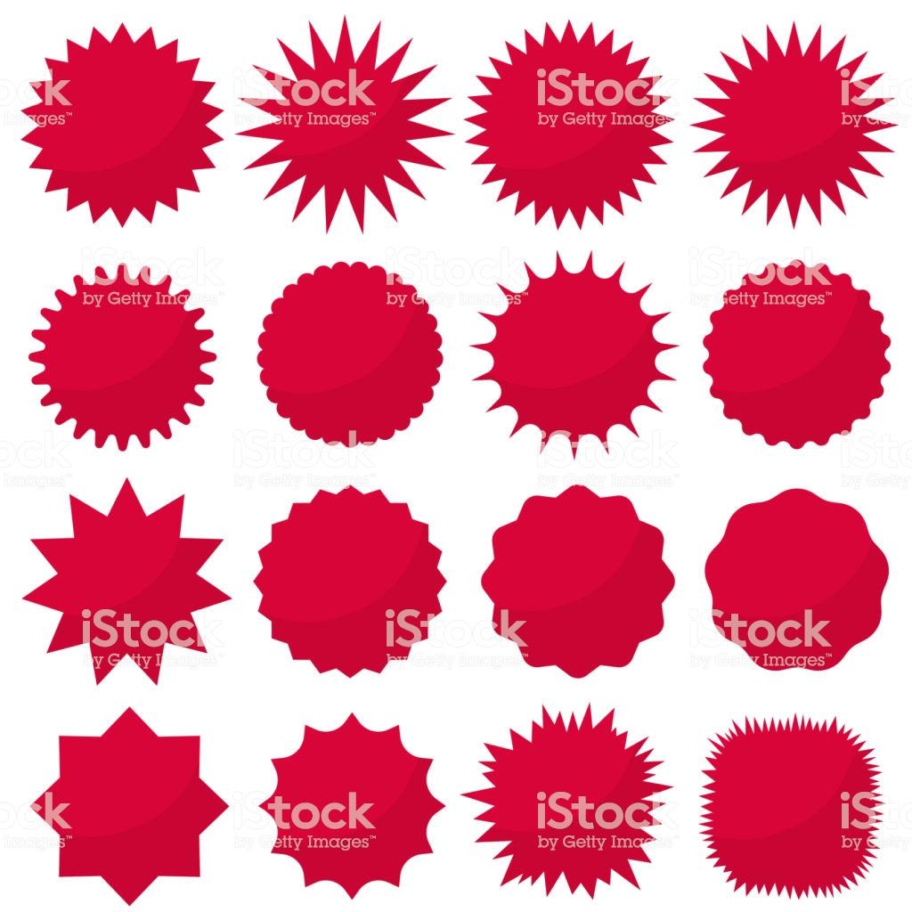 Starburst Seals Set Bursting Rays Clip Art Red Sparkles Sale.