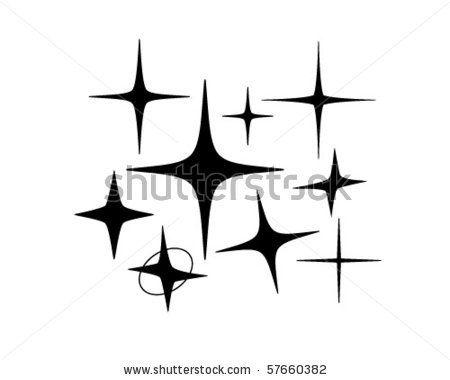 Retro Sparkle Clip Art.