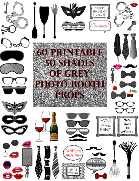 50 Shades of Grey Photo Booth Props Set by.