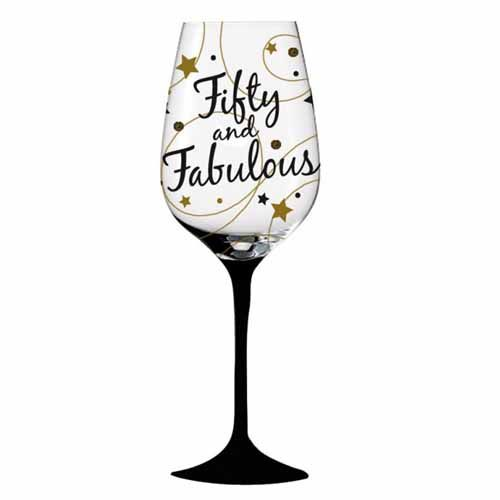 Fifty and fabulous 50th birthday wine glass.