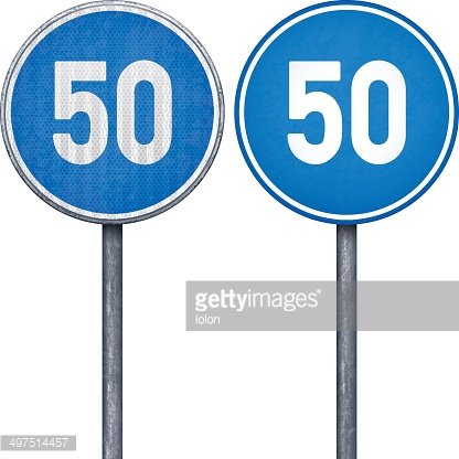 Two blue minimum speed limit 50 circular road signs Clipart.