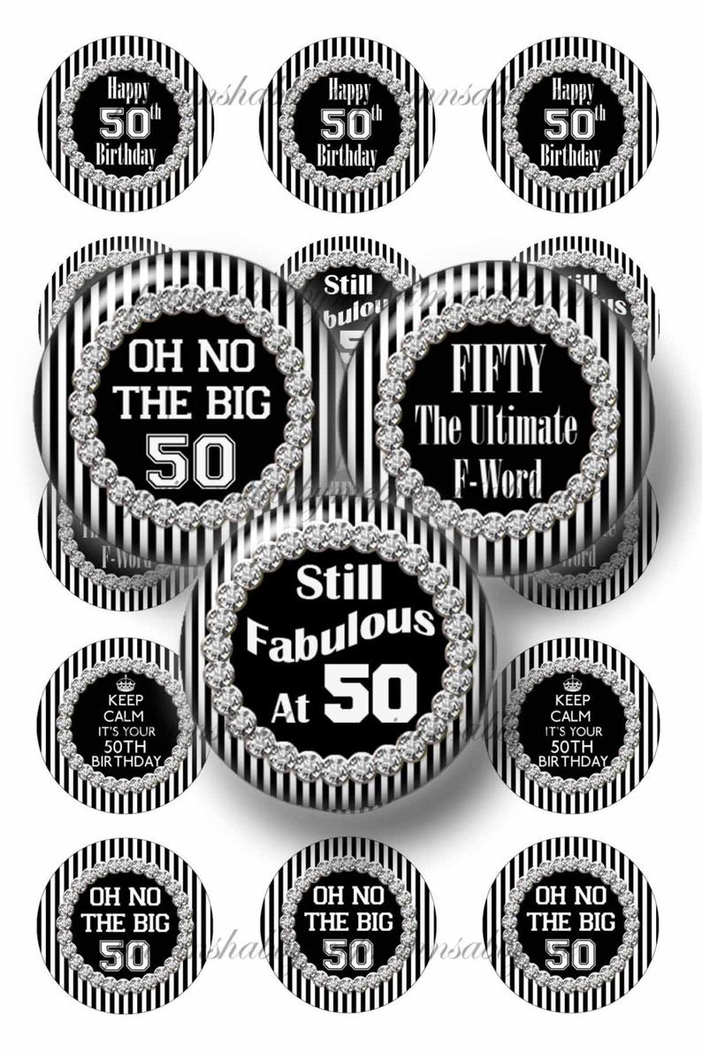50th Birthday, 1 Inch Circle, Bottle Cap Images, Digital Download, Collage  Sheet, Images For Cabochons, Cupcake Toppers, Crafts.