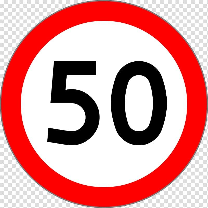 Prohibitory traffic sign Speed limit , 50 transparent.