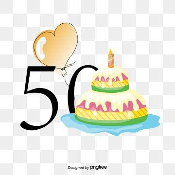 50th Anniversary Birthday Vector, Birthday Clipart.