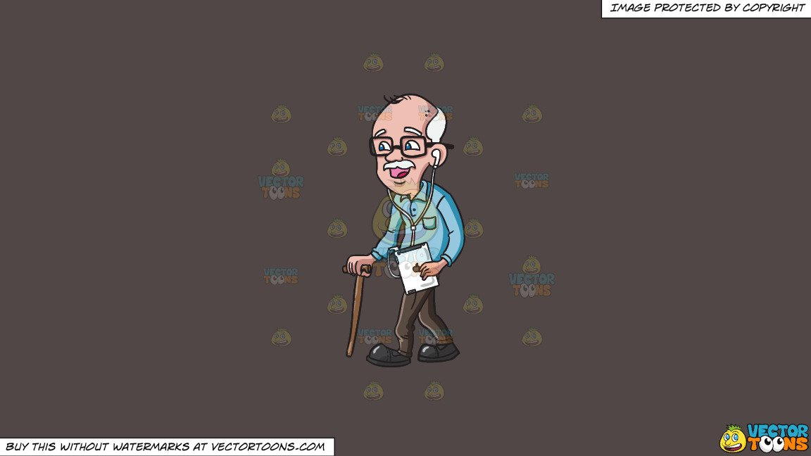 Clipart: An Old Man Listening To Songs On His Ipad on a Solid Quartz 504746  Background.
