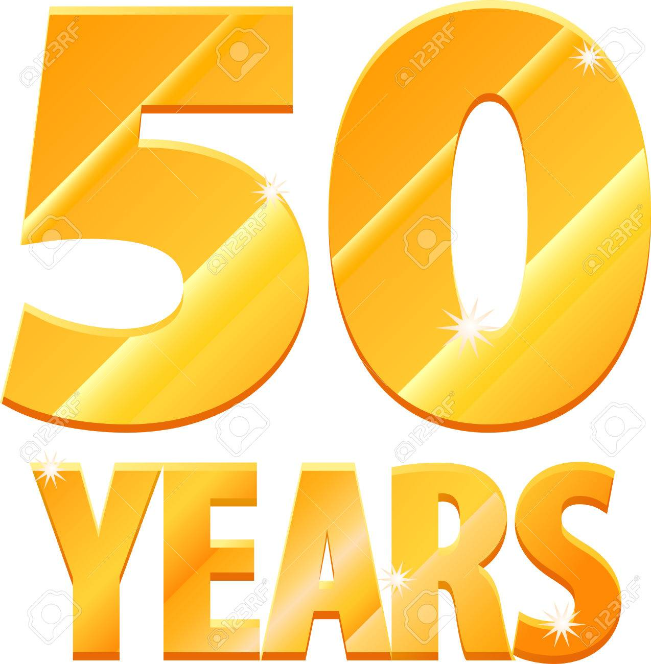 Gold 50 years icon.