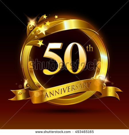 50th golden anniversary logo, 50 years anniversary celebration with.