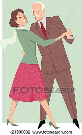 Senior couple dancing waltz Clipart.