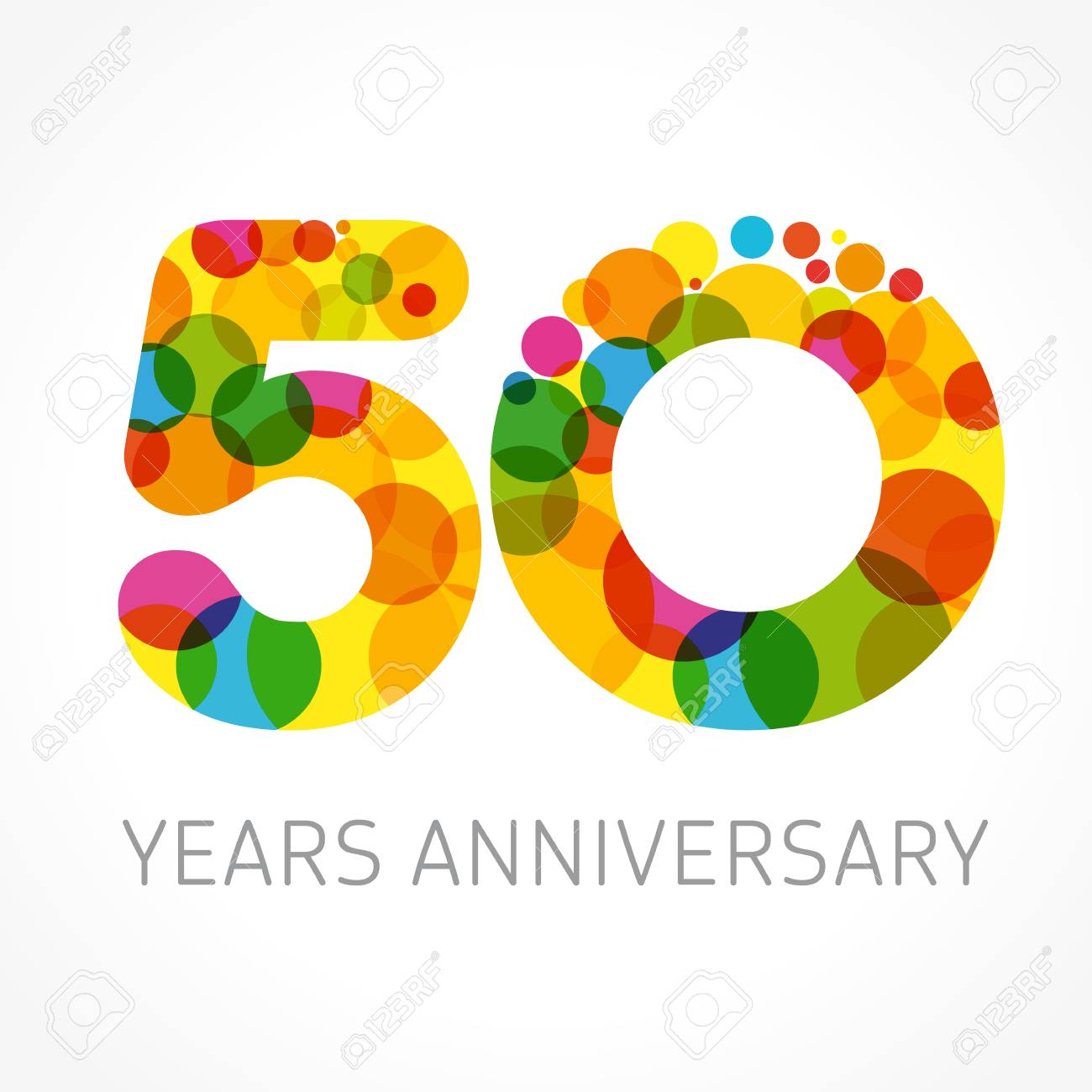 50 years old multicolored logotype. Anniversary 20th greetings,...