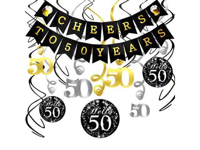 Konsait 50th Birthday Decorations Kit Cheers to 50 Years Banner Swallowtail  Bunting Garland Sparkling Celebration 50 Hanging Swirls,Perfect 50 Years.