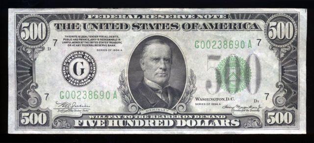 1934 500 dollar bill.