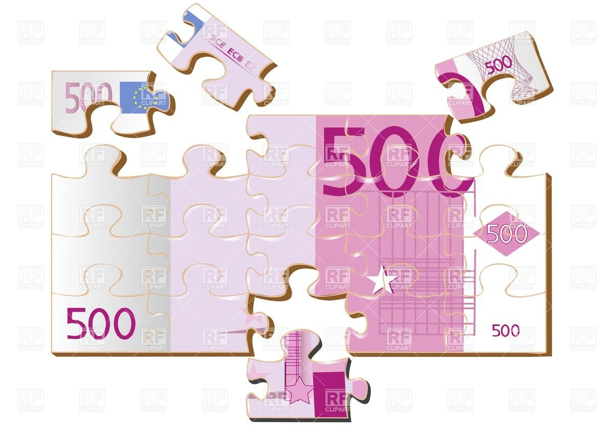 Abstract 500 euro puzzle banknote Vector Image #25745.