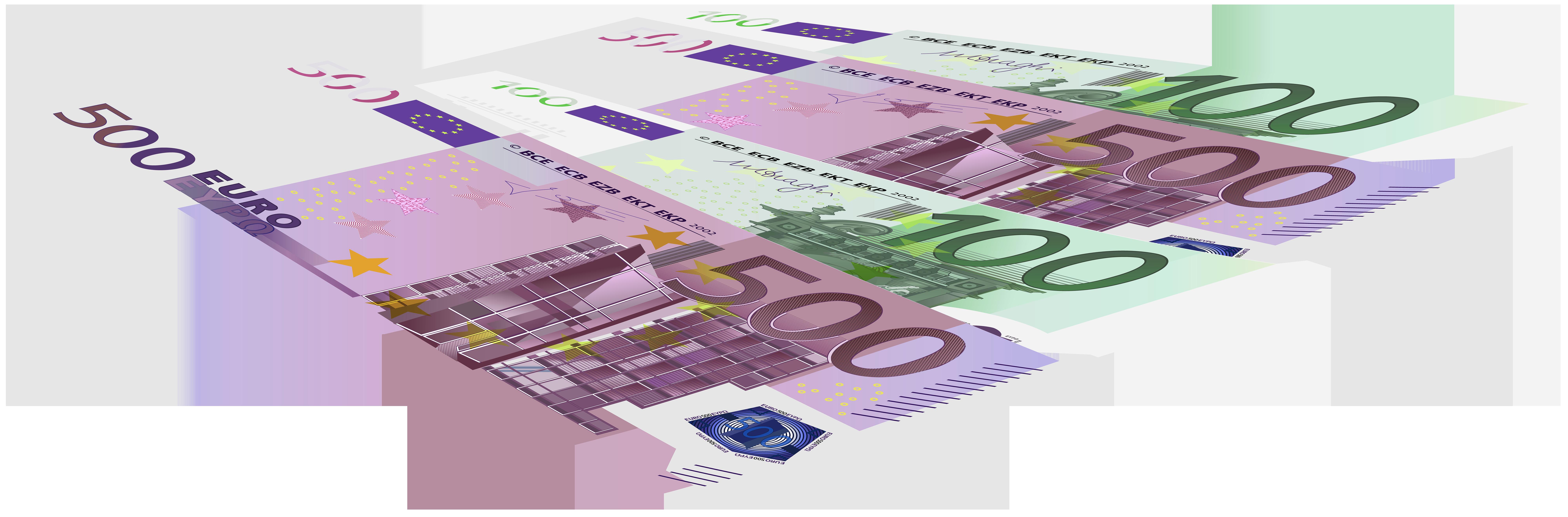 Euro Banknotes PNG Clip Art Image.