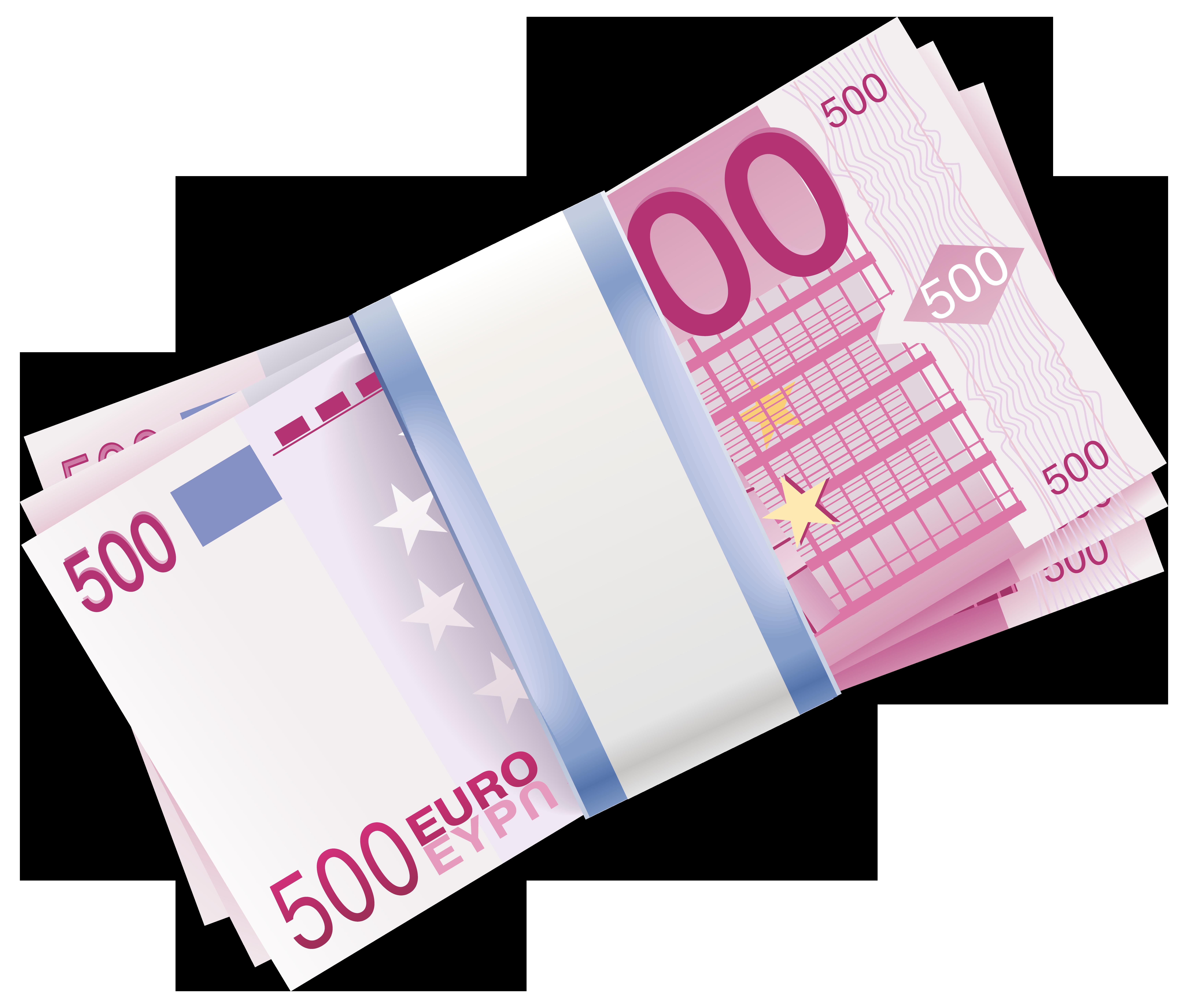 500 Euro Wads Transparent PNG Clip Art Image.