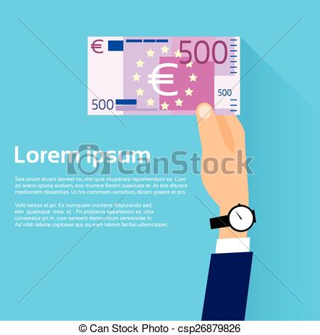 Vector Illustration of Hand hold 500 Euro Banknote Flat Design.