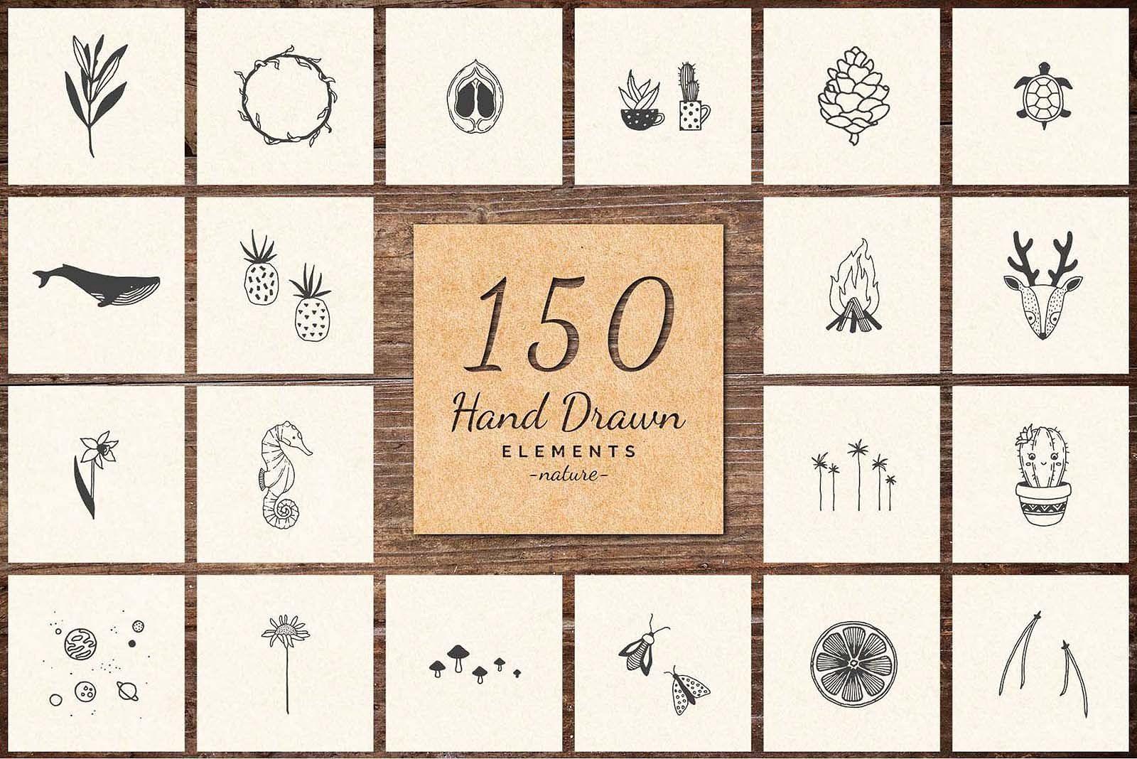 500 Hand Drawn Elements.