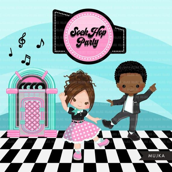 Sock Hop Party Clipart. 50\'s retro diner jukebox.