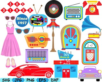 50s clip art cars music note svg classic music rock radio phone sport props  115s.