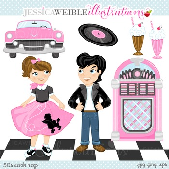 50s Sock Hop Cute Digital Clipart, Retro Drive In Poodle Skirt Graphics.
