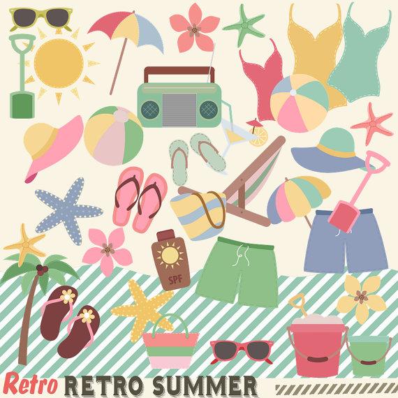 Retro Summer Clipart, Clipart, 50s Summer, Beach Clip Art.