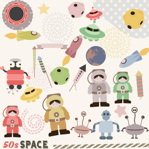 50s Space Clipart, Rocket Clipart, Instant download, 50s.