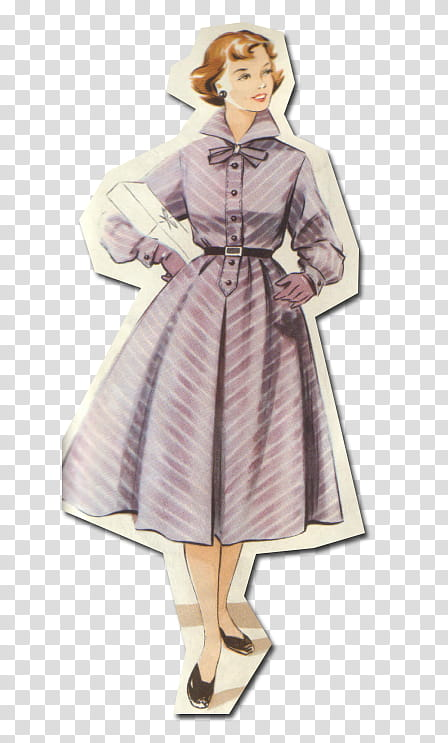 Retro style from s, woman in purple dress transparent.