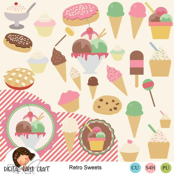 Retro Sweets Clipart, Clipart, 50s sweet Shop, Lolly Clip.