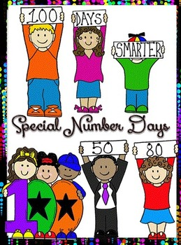 Clip Art~ 100's (One Hundreds) Day, 50's Day, 80's Day Kids.