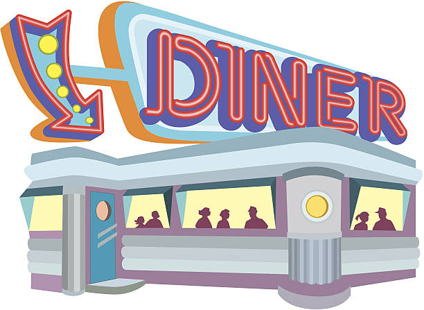 50s Diner Silhouettes Illustrations, Royalty.