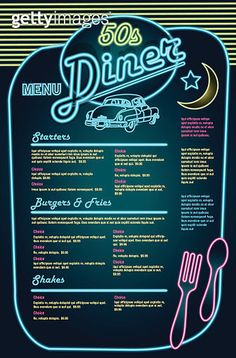Vector Art : Late night retro 50s Diner menu layout.