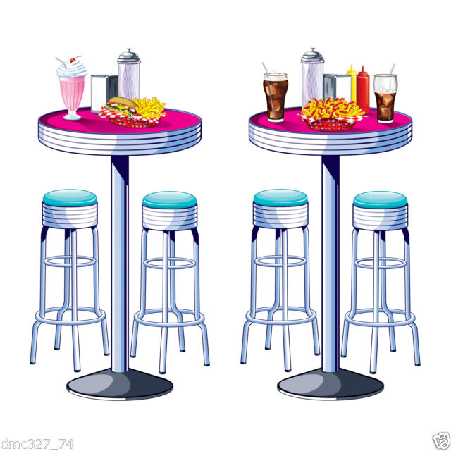 1950s Sock Hop Grease Party Decoration SODA SHOP Diner TABLES & STOOLS PROPS.