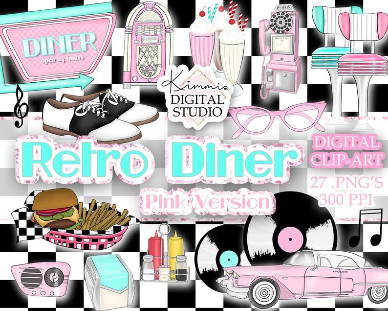 Retro Diner (Pink) Hand.