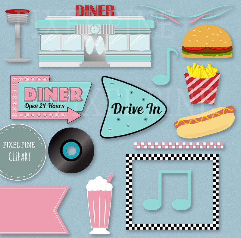 Fifties Diner Clipart Set, 30 PNGs, 5 1950s Diner Digital Paper JPGs,  Commercial Use.