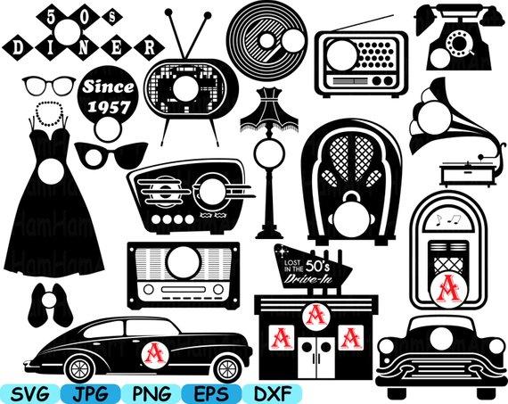 Black Circle Monogram 50's Retro Vintage radio music sport car.