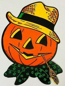 Details about TRUE VTG 50s Halloween Beistle JOL Embossed Pumpkin Hat  Decoration Die Cut Old.